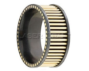 Personalized Engraved Black Zirconium Wedding Band with 18K Yellow Gold Rods 8mm (Free Laser Engraving)