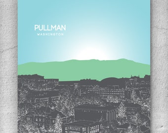 Pullman Washington Skyline / Home Décor Wall Art Poster / 8x10 Print Any City or Location