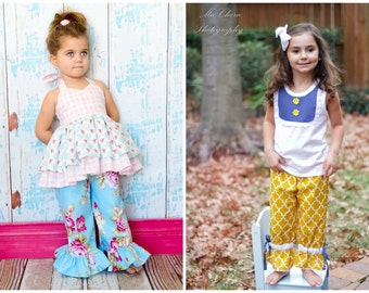 SALE..Buy 2 get 1 Free..Instant Download PDF Sewing Pattern Easy Single Ruffle Pants w Optional Ties and Drawstring Bloomers, 3-6 M to 8