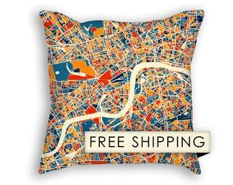 London Map Pillow - England Map Pillow 18x18