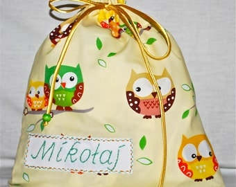 Personalised baby bag - cheeky owls in cream