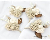 Set of 4 Groomsmen Boutonnieres Wedding Father Bridal Flower Corsages with Handmade Flowers in Ivory, Champagne, Cream,Tan and Brown