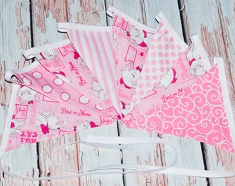 Marie Aristocat themed fabric banner - bunting - Marie birthday party decoration - Aristocat fabric birthday banner