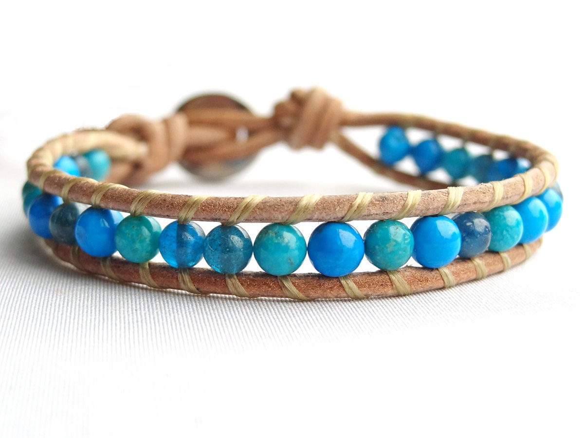blue bead wrap bracelet leather and bead bracelet apatite