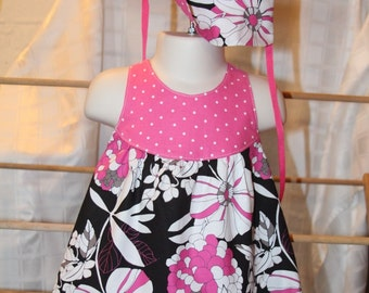 Baby Dress, Panties and Hat, Sleeveless Dress, Sundress, Size Small, 6 Months
