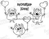 Valentine's Monster Love-1 Digital Stamp Art/ KopyKake Image