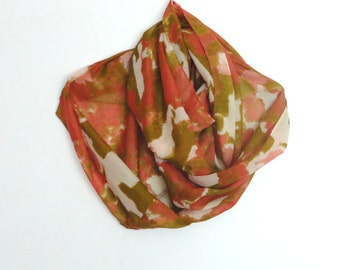 Fine cotton scarf Colourful scarf Spring scarf Summer scarf Mustard brick color Circle scarf