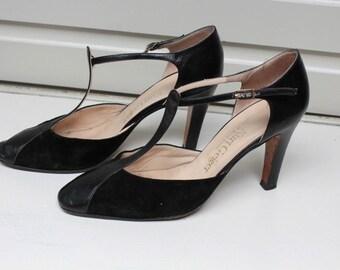 Vintage Kurt Geiger 1970's Black High-Heel T-Bar Shoes
