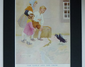 1920s Vintage Aesop's Fable Print - Black Crow Print - Eagle & The Crow Picture - Jack Orr - Crow Decor - Morality Tale - Bird Illustration