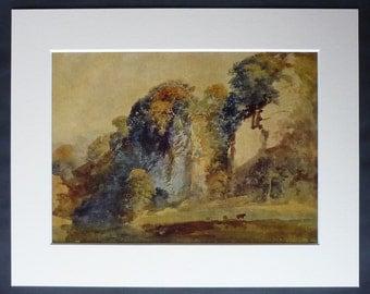 Vintage Peter De Wint Print Of A Derbyshire Landscape - English Countryside Art - Chalk Cliffs - Matted Print - Country Decor - Rustic Art
