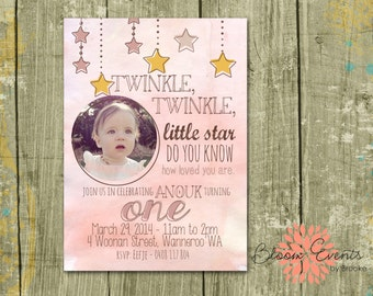 Pink Twinkle Twinkle Little Star Invitation - Water Color, Twinkle Twinkle Little Star, Do you know how loved you are?