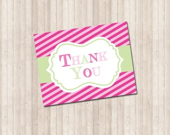 Thank You Card - Pink Stripe