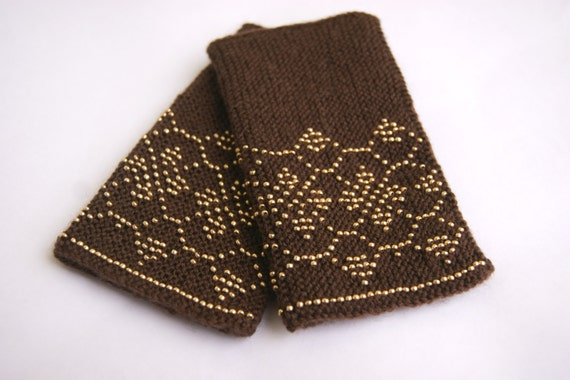 """Beaded chocolate brown Wrist warmers, cuffs with gold ornament """"Gold chocolate"""", ready to ship"""