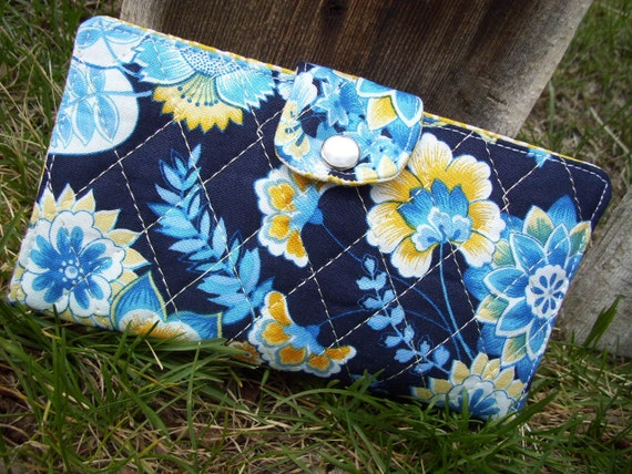 Quilted Checkbook Cover, Floral Coupon Wallet