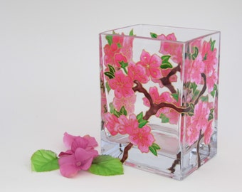 Hand Painted Glass Cherry Blossom Candle Holder Upcycled Glass