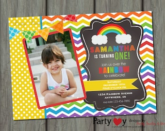 Rainbow Birthday Invitation, Chevron Birthday Invitation, Rainbow Birthday Party, Rainbow Invitation