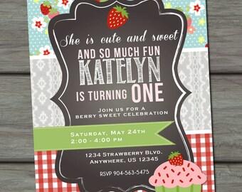 Strawberry Birthday Invitation, Cupcake Birthday Invitation, First Birthday Invitation, Strawberries Birthday Invitation