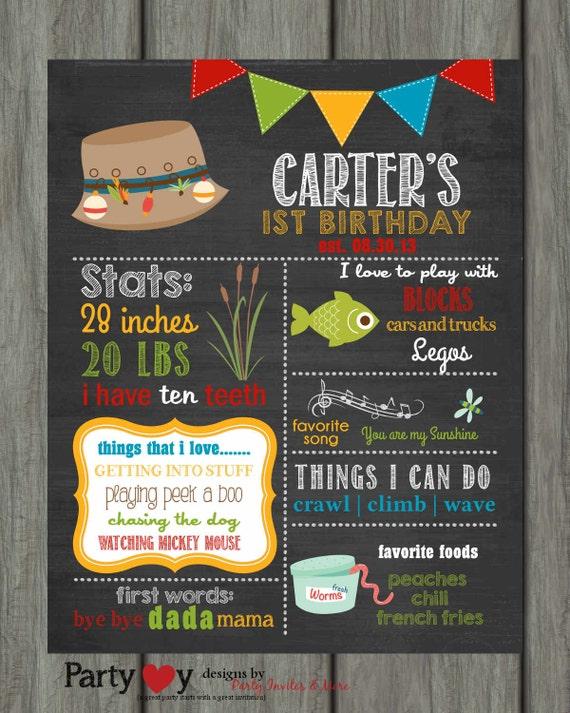 Fishing first birthday chalkboard poster birthday poster for First birthday board template