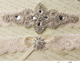 Garter, Wedding garter set, Bridal Garter set, Ivory stretch lace Bridal Garter, ivory rhinestone and Crystal garters