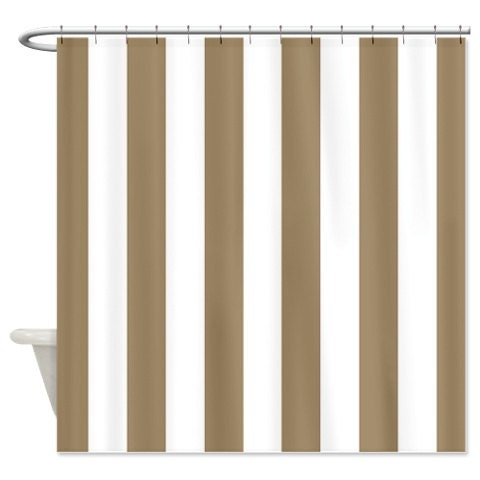 Tan And White Vertical Striped Custom Shower Curtain Choose