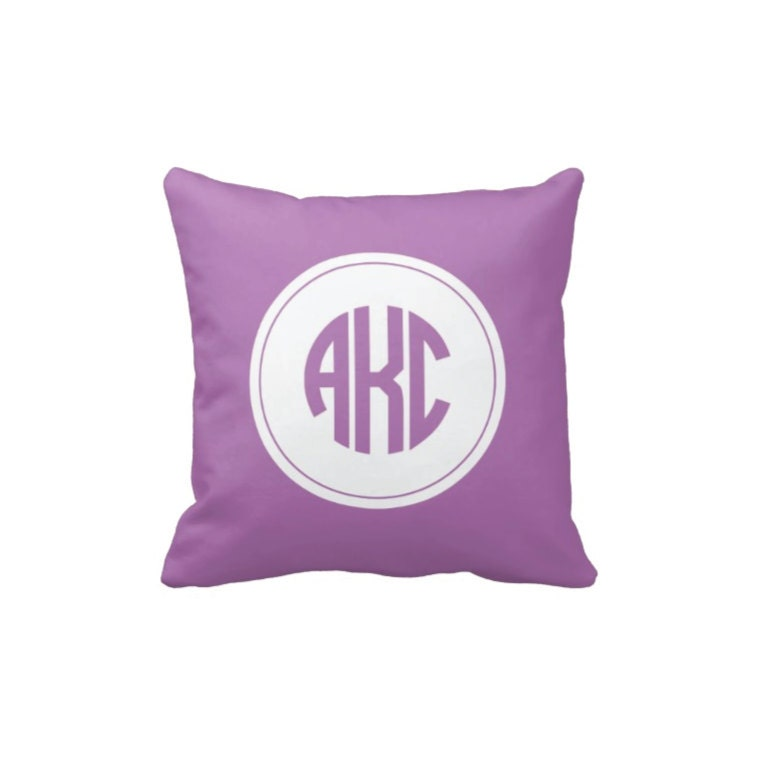 Monogrammed Throw Pillow Covers : Personalized Circle Monogram Throw Pillow & Cover-Radiant