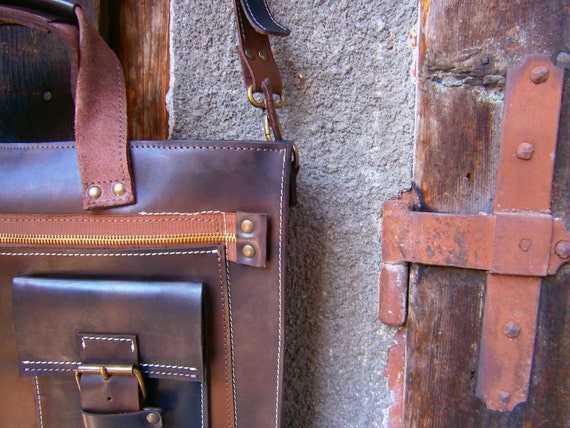 "Laptop Leather Bag, 15"" Laptop Bag, Genuine Leather Briefcase, Handmade Briefcase, Handmade Leather Bag"