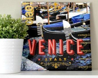 VENICE ITALY Canvas Print of Gondolas in Venice, Italy