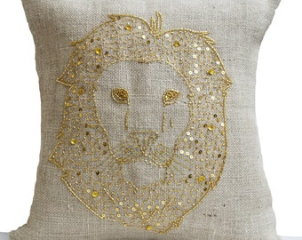 Lion Pillow Cover, Animal Pillow, Burlap Pillows, Gold Lion Pillow, Wildlife Pillows 16x16, Gift, Housewarming, Farm, Hostess, Wedding, Dorm