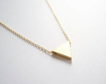 Geometric Triangle Necklace in Gold