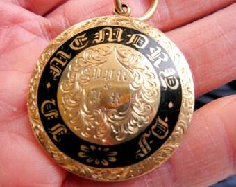 Large Antique Pendant, Prince of Wales, Mourning Necklace 14K, Hair Keepsake, Victorian Medal, Regency Enamel, Sentimental Jewelry, USA.