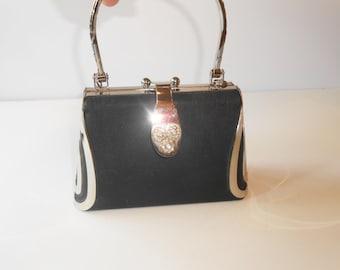 Dazzling Black Evening Bag with Silver and Rhinestone Trim Glamorous EB-0130