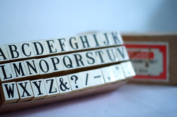 Large Alphabet Rubber Stamp Set Vintage Wooden Capital Letter For Stamps