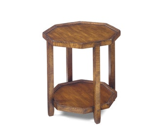 1111 Octagon Table In Cherry, Mocha Finish, Severe Antique