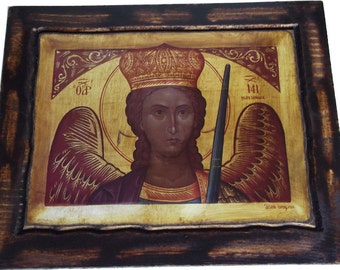 Archangel Michael - Orthodox Byzantine icon on wood handmade (22.5 cm x 17 cm)