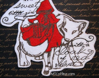 Big Bad Wolf Little Red Riding Hood Dark Fairy Tales Iron On Embroidery Patch MTCoffinz