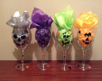 Set of 4 Halloween Wine Glasses