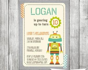Robot Invitation, Robot Birthday Invite- 5X7 PRINTABLE