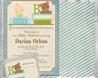 Baby Book Shower Invitation - Front and Back Design with Bookplate -Stock the Library - 5 x 7 JPG