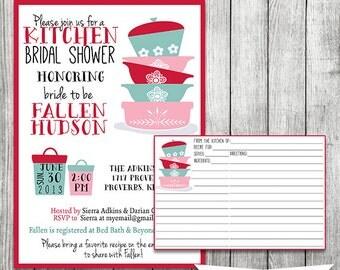 Retro Kitchen Bridal Shower Invite with Recipe Card - 5x7 JPG