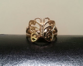 gold filegree  butterfly ring alternative steampunk gothic art nouveau victorian