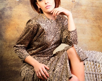 1950's Vintage inspired animal print wiggle dress beautiful vintage evening gown
