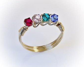 Gold Mother's Ring, Family Ring, Birthstone Ring