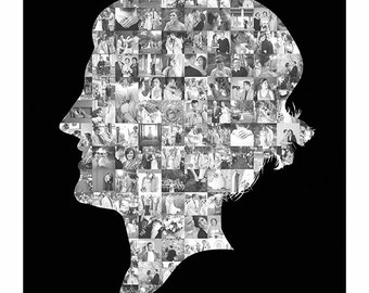Custom Profile Portrait Silhouette Illustration Photo Mosaic Collage - 16x20 Inch - Wall Art - Wall Decor -Created with your photos