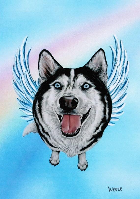 Siberian Husky Angel Husky Art Print Huskies Dog Angels Etsy