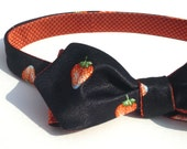 Mens self tie strawberries bow tie, italian pure silk satin, black with red orange fruit, freestyle, reversible, unique style for summer
