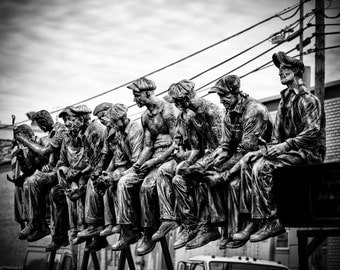 """Photograph of a """"Lunch atop a Skyscraper"""" Sculpture. Taken in Queens, New York.  - 8x10 photograph"""