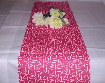 Handmade Table Runner 13W x 72L Red/White Sprinkles Table Runner, Home Decor, Chic