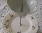 Lovely Grapes and Fowers Tea Stand/Cupcake Tray/Cake Tray, Beautiful Pinks and Lavender and a Tulip bowl on top  (53)