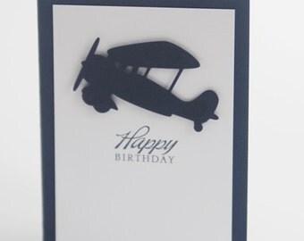 Happy Birthday Airplane Hand Made Card, Birthday Card for Son, Masculine Birthday Card, Boys Birthday Card