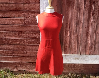 Sophisticated 1960's Red Linen Dress